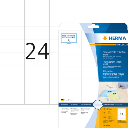 HERMA Folien-Etiketten SPECIAL, 70 x 37 mm, transparent
