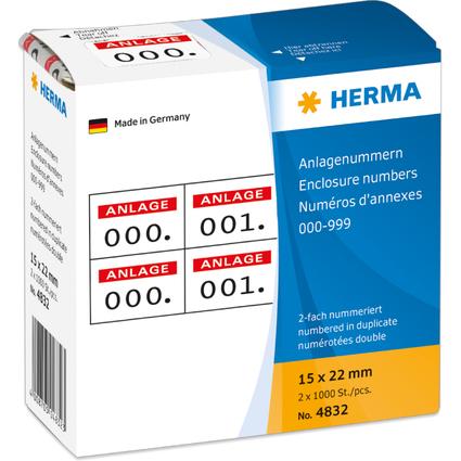 HERMA Anlagenummern, 15 x 22 mm, selbstklebend, rot