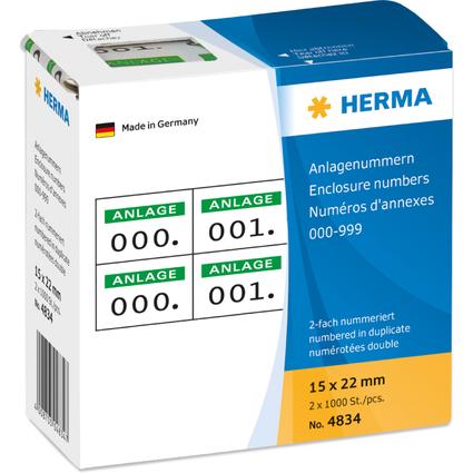 HERMA Anlagenummern, 15 x 22 mm, selbstklebend, grün