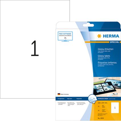 HERMA Hochglanz-Etiketten SPECIAL, 210 x 297 mm, weiß