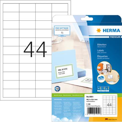 HERMA Universal-Etiketten PREMIUM, 48,3 x 25,4 mm, weiß