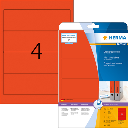 HERMA Ordnerrücken-Etiketten SPECIAL, 192 x 61 mm, rot