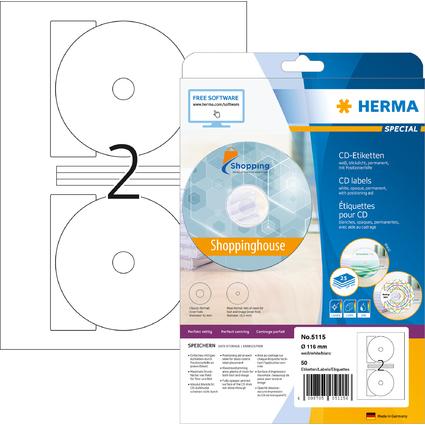 HERMA CD/DVD-Etiketten SPECIAL, Durchmesser: 116 mm, Maxi