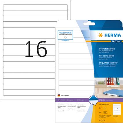 HERMA Ordnerrücken-Etiketten SPECIAL, 192 x 16,9 mm, weiß
