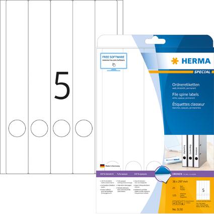 HERMA Ordnerrücken-Etiketten SPECIAL, 297 x 38 mm, weiß