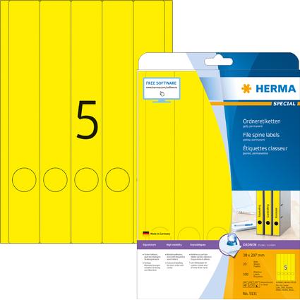 HERMA Ordnerrücken-Etiketten SPECIAL, 38 x 297 mm, gelb