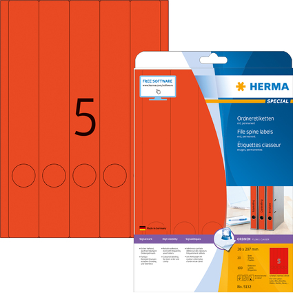 HERMA Ordnerrücken-Etiketten SPECIAL, 38 x 297 mm, rot