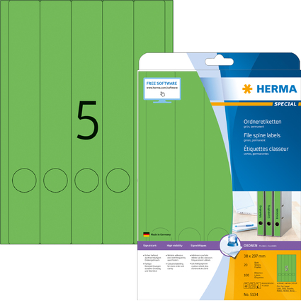 HERMA Ordnerrücken-Etiketten SPECIAL, 38 x 297 mm, grün