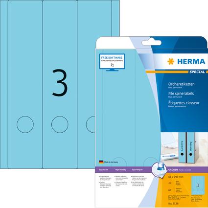 HERMA Ordnerrücken-Etiketten SPECIAL, 61 x 297 mm, blau