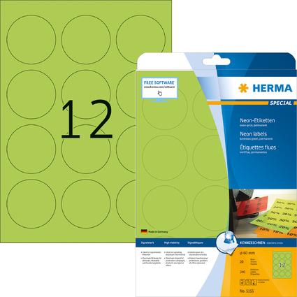 HERMA Universal-Etiketten SPECIAL, rund, 60 mm, neon-grün