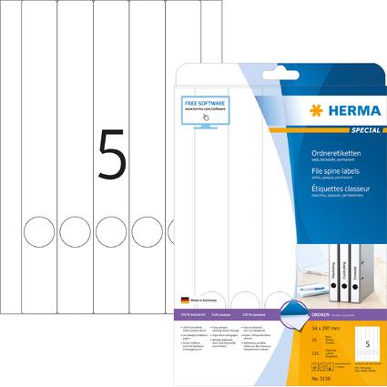 HERMA Ordnerrücken-Etiketten SPECIAL, 297,0 x 34,0 mm, weiß