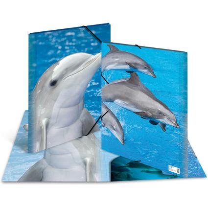 """HERMA Eckspannermappe """"Delfine"""", aus PP, DIN A3"""