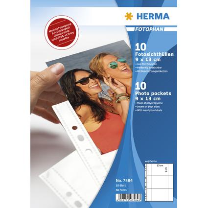 HERMA Fotophan Sichthüllen DIN A4, für Fotos 9 x 13 cm, quer