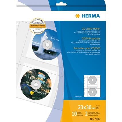HERMA CD-/DVD-Prospekthülle für 2 CD's, A4, PP, transparent,