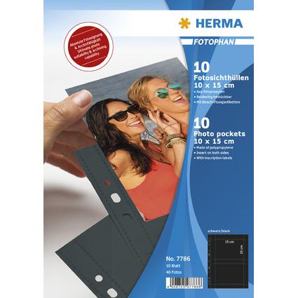 HERMA Fotophan Sichthüllen DIN A4, für Fotos 10 x 15 cm,quer