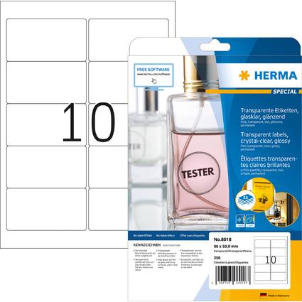 HERMA Folien-Etiketten SPECIAL, 96 x 50,8 mm, transparent