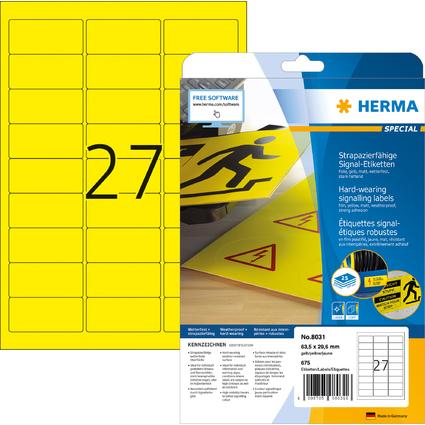 HERMA Signal-Etiketten SPECIAL, 63,5 x 29,6 mm, gelb