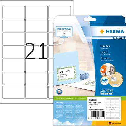 HERMA Universal-Etiketten PREMIUM, 63,5 x 38,1 mm, weiß