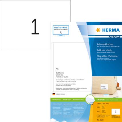 HERMA Universal-Etiketten PREMIUM, 148,5 x 205 mm, weiß