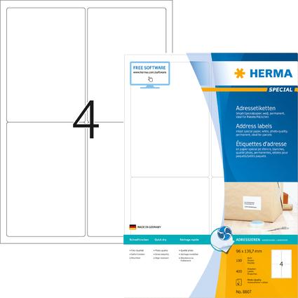 HERMA Inkjet Versand-Etiketten SPECIAL, 96 x 139,7 mm, weiß