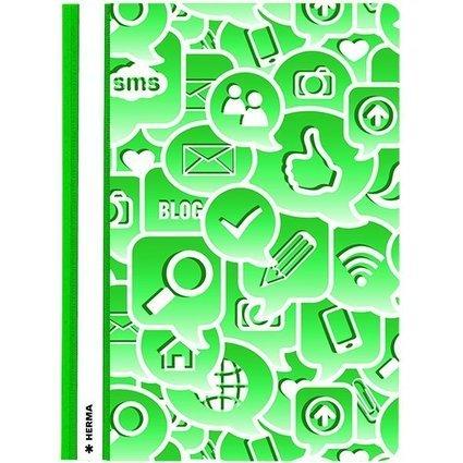 "HERMA Schnellhefter ""Social Icons"", DIN A4, aus PP, grün"
