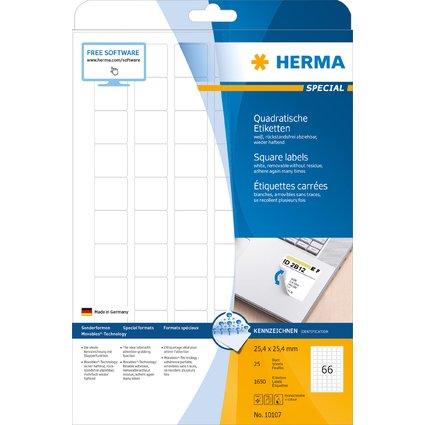 HERMA Universal-Etiketten SPECIAL, 25,4 x 25,4 mm, weiß