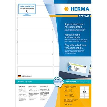 HERMA Universal-Etiketten SPECIAL, 99,1 x 33,8 mm, weiß