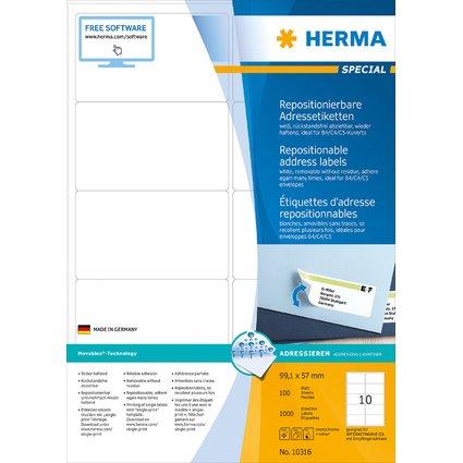 HERMA Universal-Etiketten SPECIAL, 99,1 x 57 mm, weiß