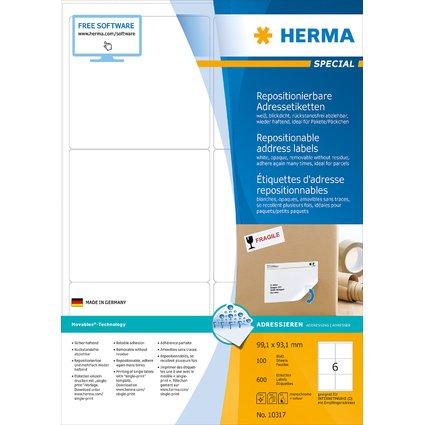 HERMA Universal-Etiketten SPECIAL, 99,1 x 93,1 mm, weiß