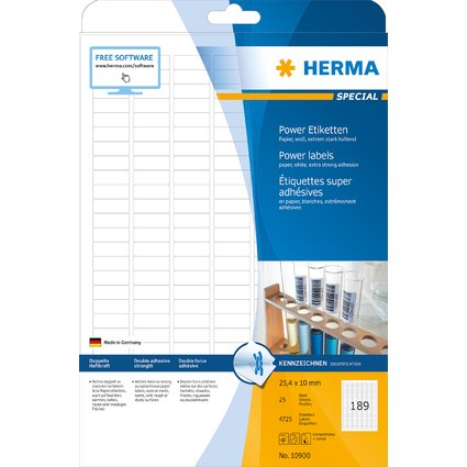 HERMA Power Etiketten SPECIAL, 25,4 x 10 mm, weiß