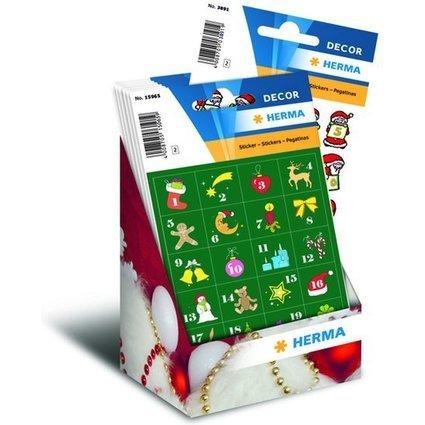 """HERMA Weihnachts-Sticker DECOR """"Adventskalender"""", Display"""