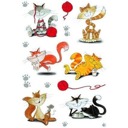 """HERMA Sticker DECOR """"lustige Katzen"""", beglimmert"""