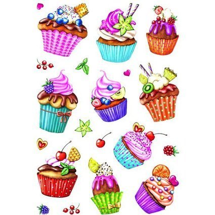 "HERMA Sticker DECOR ""Cupcakes"", Folie beglimmert"