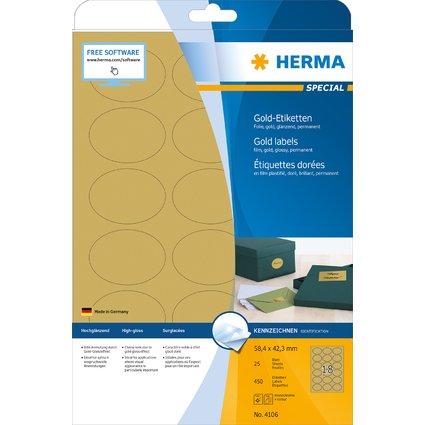 HERMA Folien-Etiketten SPECIAL, 58,4 x 42,3 mm, gold