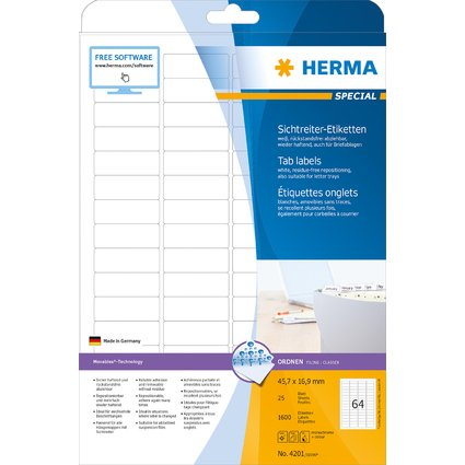 HERMA Sichtreiter-Etiketten SPECIAL, 45,7 x 16,9 mm, weiß