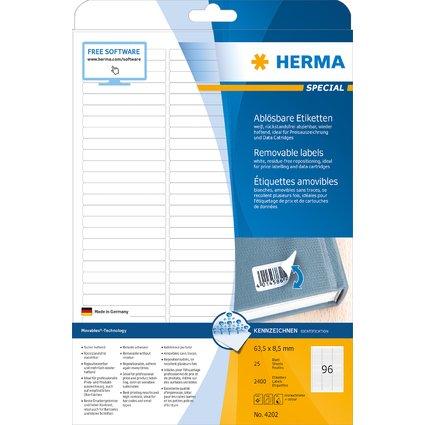 HERMA Universal-Etiketten SPECIAL, 63,5 x 8,5 mm, weiß