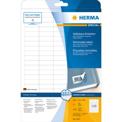 HERMA Universal-Etiketten SPECIAL, 38,1 x 12,7 mm, weiß