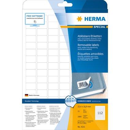 HERMA Universal-Etiketten SPECIAL, 25,4 x 16,9 mm, weiß