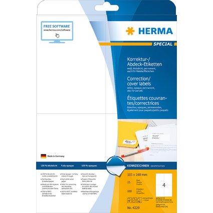 HERMA Korrektur-/Abdeck-Etiketten SPECIAL, 105 x 148 mm