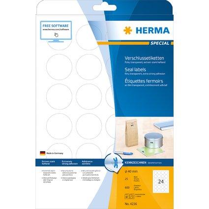 HERMA Verschlussetiketten SPECIAL, transparent