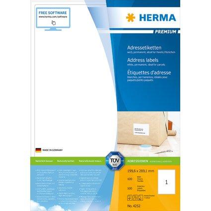 HERMA Universal-Etiketten PREMIUM, 199,6 x 289,1 mm, weiß