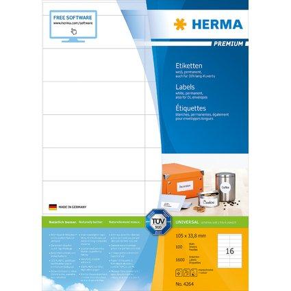 HERMA Universal-Etiketten PREMIUM, 105 x 33,8 mm, weiß