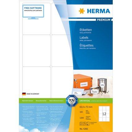 HERMA Universal-Etiketten PREMIUM, 63,5 x 72 mm, weiß