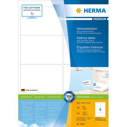 HERMA Universal-Etiketten PREMIUM, 99,1 x 67,7 mm, weiß
