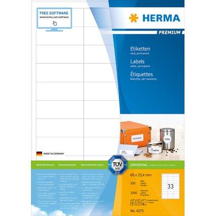 HERMA Universal-Etiketten PREMIUM, 66 x 25,4 mm, weiß