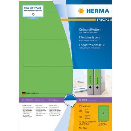 HERMA Ordnerrücken-Etiketten SPECIAL, 192 x 61 mm, grün