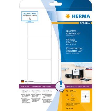 """HERMA Disketten-Etiketten 3,5"""" SPECIAL, 70 x 67,7 mm, weiß"""