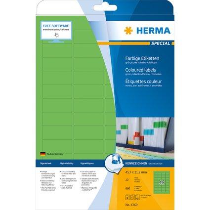HERMA Universal-Etiketten SPECIAL, 45,7 x 21,2 mm, grün