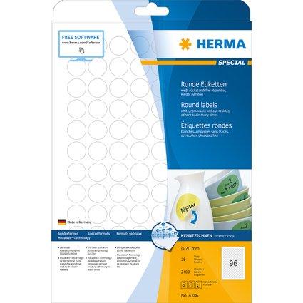 HERMA Universal-Etiketten SPECIAL, Durchmesser 20 mm, weiß