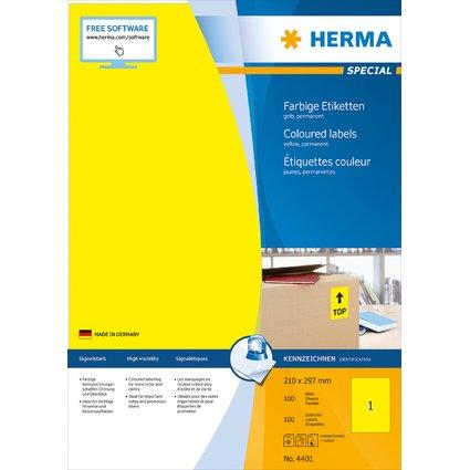 HERMA Universal-Etiketten SPECIAL, 210 x 297 mm, gelb